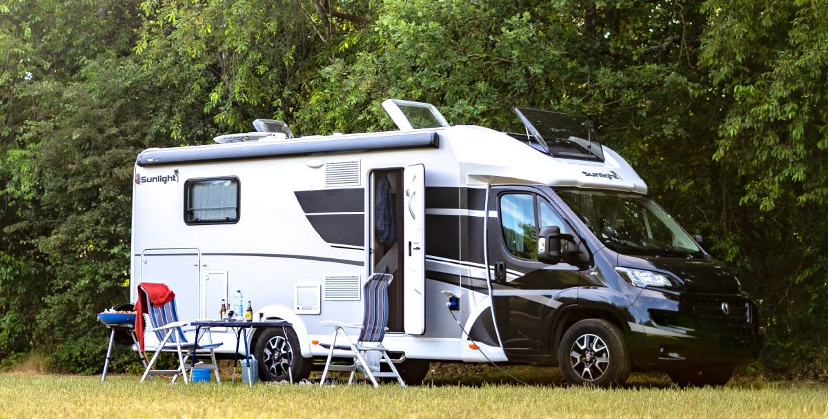 Motorhome in a forest