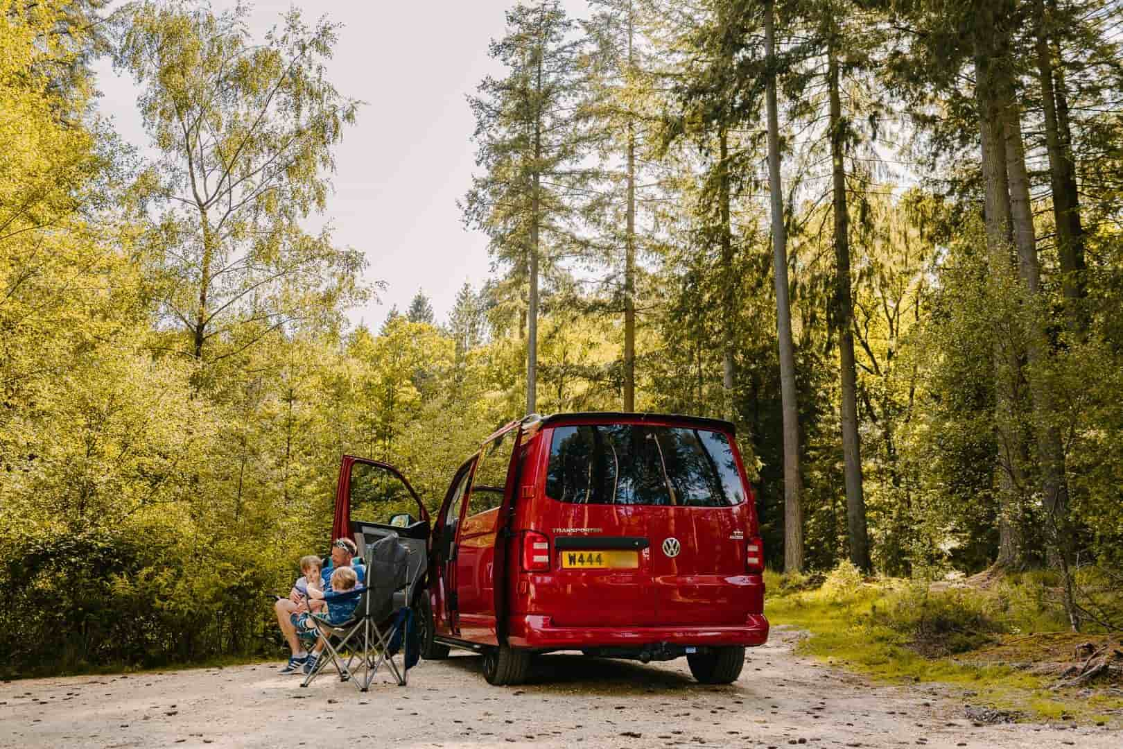 Campervan in a forest area